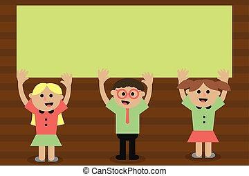 pojęcie, ad, tekst, odizolowany, mówiąc, projektować, uśmiechanie się, śpiew, przestrzeń, trzy, twórczy, szablon, website, płaski, handlowa ilustracja, herb, kopia, wychowywanie, obaj, sztubacy, esp, wektor, promocja, zwyżkowy