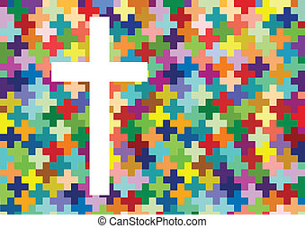 pojęcie, afisz, abstrakcyjny, krzyż, ilustracja, ...