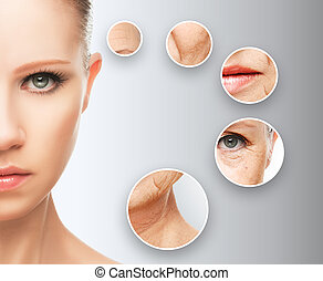pojęcie, aging., procedury, piękno, podnoszenie, twarzowy, skóra, anti-babiejący, naciągowy, odmłodzenie