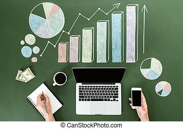 pojęcie, barwny, handlowy, używając, górny, urządzenia, osoba, miejsce pracy, cyfrowy, dom biuro, wykresy, prospekt