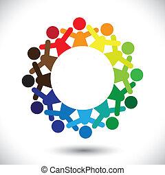 pojęcie, barwny, ikony, graphic-, abstrakcyjny, dzieci,...