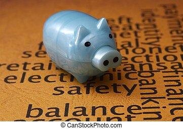 pojęcie, bezpieczeństwo, piggy bank