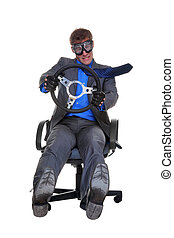 pojęcie, biuro, napędowy, podczas gdy, wizerunek, odizolowany, tło., krzesło, biznesmen, biały, siedział