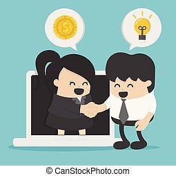pojęcie, biznesmen, handlowy zaludniają, komunikacja