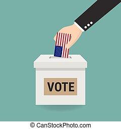 pojęcie, box., na, ręka, wybór, papier, kładzenie, głosowanie, balotowanie, prezydencki