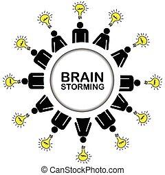 pojęcie, brainstorming, pojęcia, posiadanie, ludzie