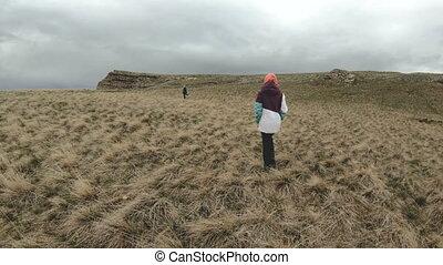 pojęcie, cliff., natura, podróż, następny, wysokie płaskowzgórze, przechadzki, dziewczyna