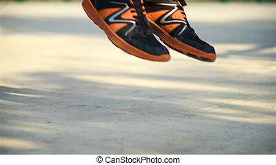 pojęcie, crossfit, kroki, skaczący, rope., człowiek