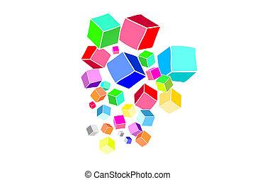 pojęcie, dane, odizolowany, colorfull, background-, sześcian, technologia