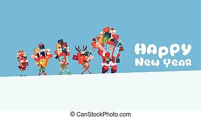 pojęcie, dar, elfy, renifer, stóg, przedstawia się, kabiny, transport, święty, rok, nowy, święto, kartka na boże narodzenie, szczęśliwy