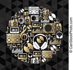 pojęcie, didżej, złoty, cd, formułować, komplet, muzyka, winyl, ikona