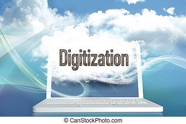 pojęcie, digitization, ilustracja, 3d