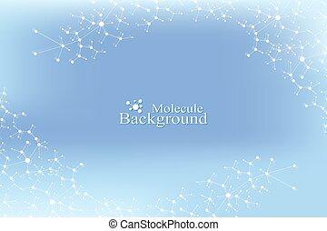 pojęcie, dna, naukowy, dots., system., komunikacja, medyczny, atom, molekuła, kwestia, ilustracja, tło., związany, nerwowy, neurons., złudzenie, budowa, backdrop.
