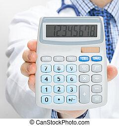 pojęcie, doktor, kalkulator, -, ręka, zdrowie, dzierżawa,...