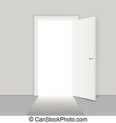 pojęcie, drzwi, handlowy, powodzenie, sposobności, wektor, ilustracja, otwarty