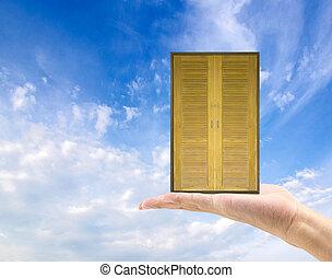 pojęcie, drzwi, handlowy, ręka, stary, drewno, nowy, utrzymywać, życie, world.