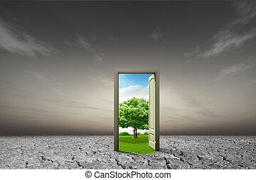 pojęcie, drzwi, idea, środowiskowy, nowy, otwarty, świat