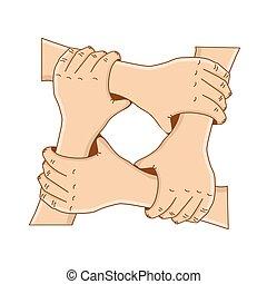 pojęcie, dzierżawa, -, albo, wektor, teamwork., szablon, siła robocza, koło, design., przyjaźń, twój, illustration.