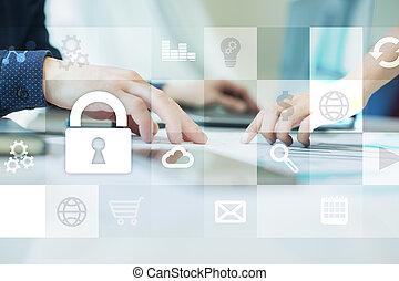 pojęcie, ekran, faktyczny, ochrona, cyber, bezpieczeństwo, dane