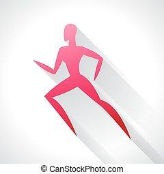 pojęcie, emblemat, woman., znakowanie, abstrakcyjny, ilustracja, stylizowany, wyścigi, reklama, sport, atletyka