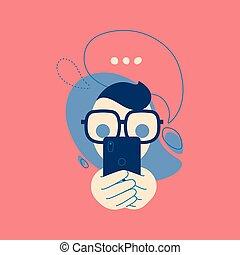 pojęcie, emoji, stiker, mówiąc, ilustracja, dzwonić wiadomości, bubbles., rozmowa telefoniczna, ikona, człowiek