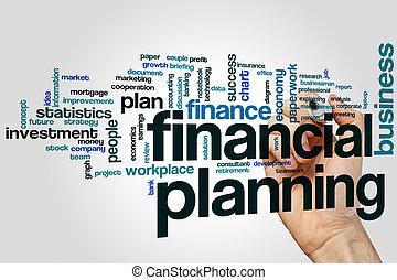 pojęcie, finansowy, szary, planowanie, tło, słowo, chmura