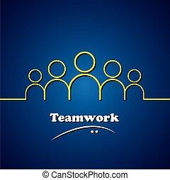 pojęcie, graficzny, &, drużyna, teamwork, wektor, przewodnictwo, lider