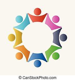 pojęcie, grupa, handlowy zaludniają, połączenie, teamwork, koło, logo