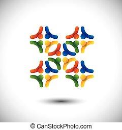 pojęcie, grupa, &, ludzie, współposiadanie, jedność, wektor, albo, solidarność