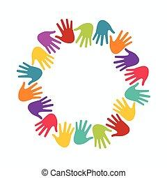 pojęcie, grupa, ludzie, zjednoczenie, siła robocza, dzieci, circle.