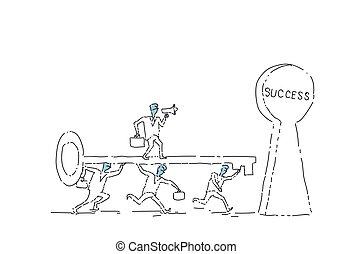 pojęcie, grupa, powodzenie, handlowy zaludniają, pomyślny, kładzenie, klucz, dziurka od klucza, teamwork