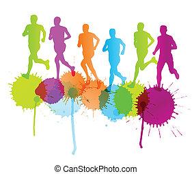 pojęcie, grupa, wektor, plamy, tło, biegacze