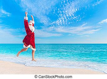 pojęcie, gwiazdor, skok, morze, plaża, boże narodzenie, niebo