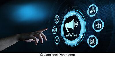 pojęcie, handel, strategia, zadowolenie, planowanie, reklama, cyfrowy