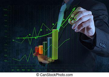 pojęcie, handlowy, ekran, wykres, faktyczny, ręka, komputer, dotyk, biznesmen, rysunek
