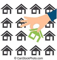 pojęcie, handlowy, house., ilustracja, siła robocza, home.,...