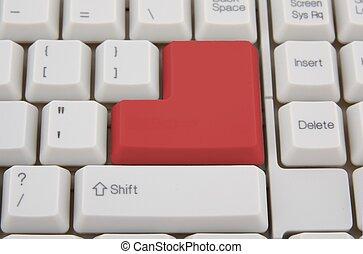 pojęcie, handlowy, klawiatura, klucz, komputer, wejść, czerwony
