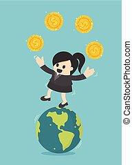 pojęcie, handlowy, kobieta interesu, przelew, biznesmen, coins.successful