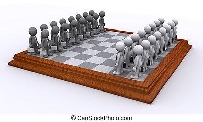 pojęcie, handlowy, ludzie., strategia, deska, szachy