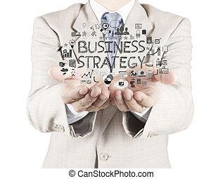 pojęcie, handlowy, pracujący, nowoczesny, biznesmen, ręka, komputer, showhand, nowy, pociągnięty, strategia