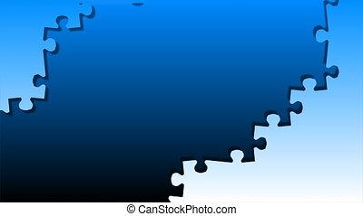 pojęcie, handlowy, puzzle., wręczać dzierżawę, kawał