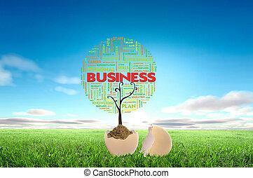 pojęcie, handlowy, tekst, drzewo, wzrost, jajko, chmura