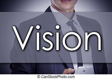 pojęcie, handlowy, tekst, -, młody, biznesmen, widzenie
