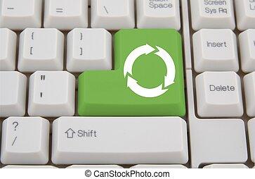 pojęcie, handlowy, wejść, recycling symbol, komputer, zielony klucz, klawiatura