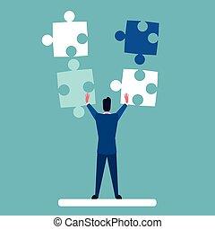pojęcie, handlowy, zagadka, rozłączenie, rozwiązać, człowiek