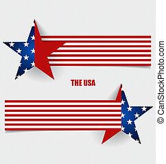 pojęcie, illustration., bandera, amerykanka, wektor, bandery, design.