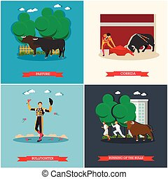 pojęcie, illustration., byki, wyścigi, wektor, byk, corrida, matador, hiszpania