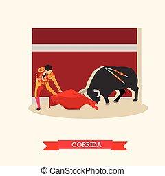 pojęcie, illustration., corrida, wektor, byk, matador, hiszpania