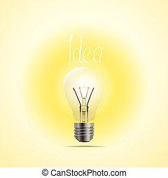 pojęcie, illustration., jasna idea, lampa, wektor