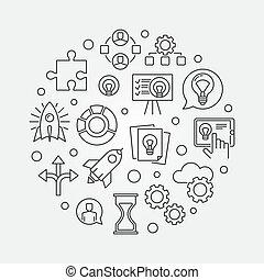 pojęcie, illustration., uruchomienie, startup, wektor, ...